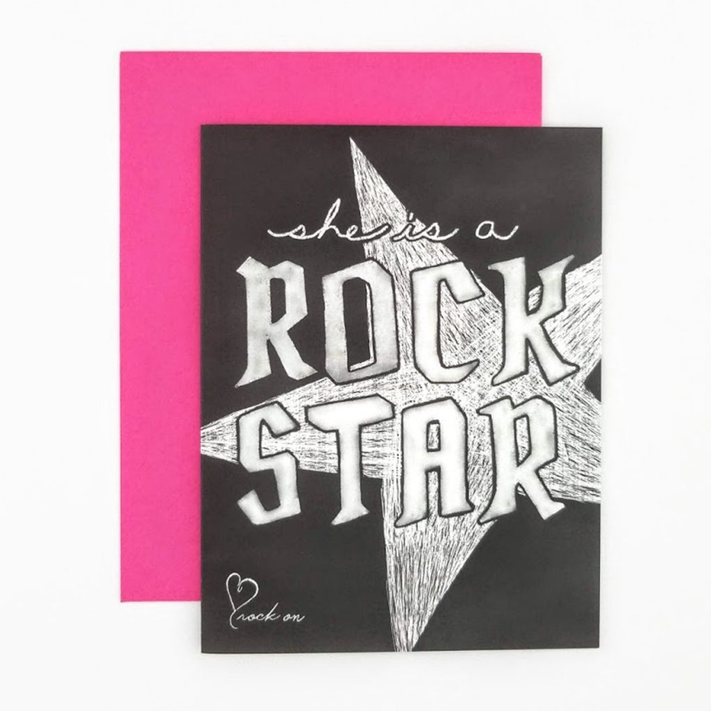 She is a Rock Star Greeting Card. Hand-lettered chalkboard art design on the front, blank inside and story on the back. greeting card.