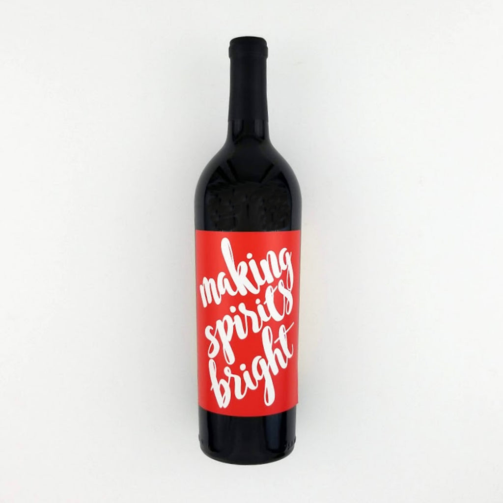 Making Spirits Bright Christmas Wine Label