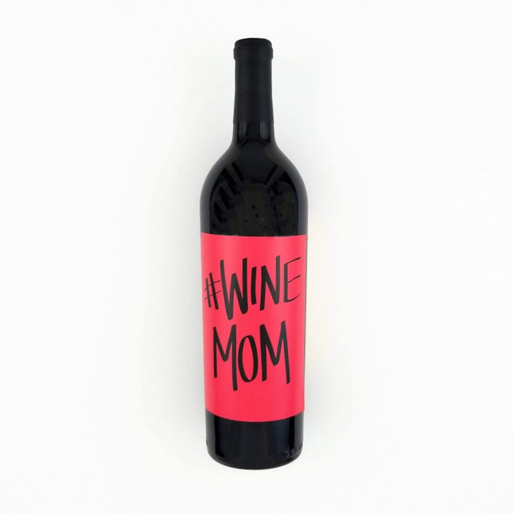 Hashtag Wine Mom Wine Bottle Label