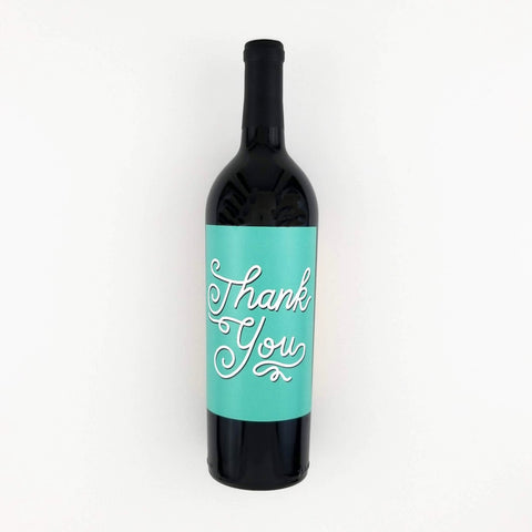 Thank You Wine Bottle Label