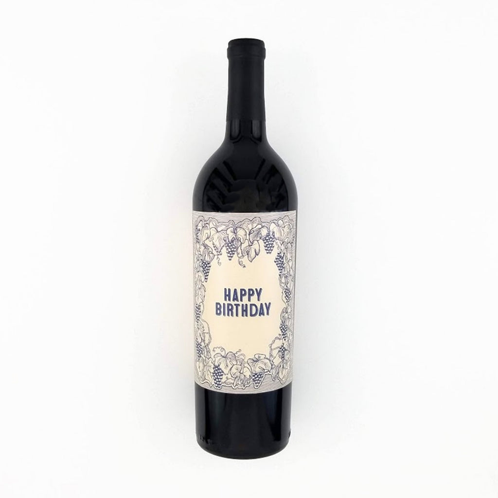 Vintage Happy Birthday Wine Bottle Label