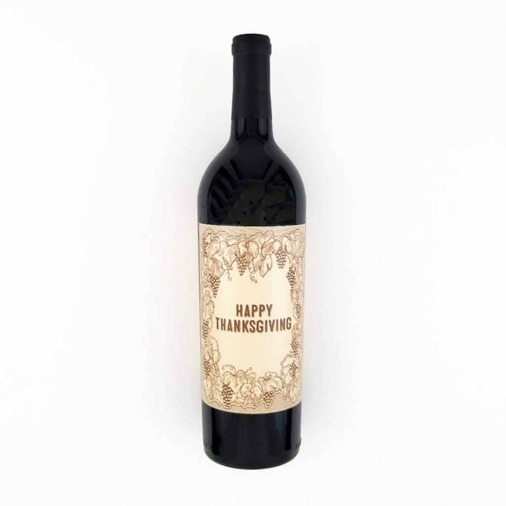 Vintage Happy Thanksgiving Wine Bottle Label