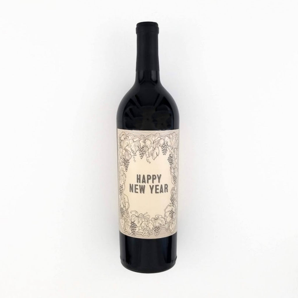Vintage Happy New Year Wine Bottle Label