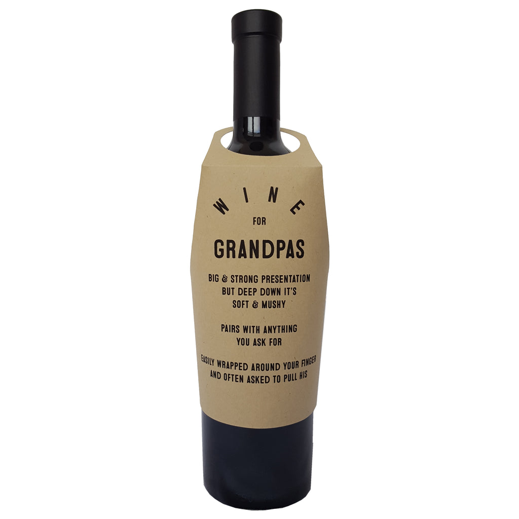 Wine for Grandpas wine bottle wrap