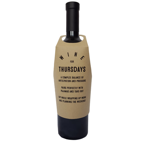 Wine for Thursdays wine bottle wrap