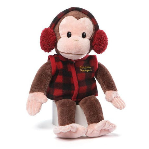 "Gund Plush Curious George w/Plaid Vest and Earmuffs 14"" #4048377"