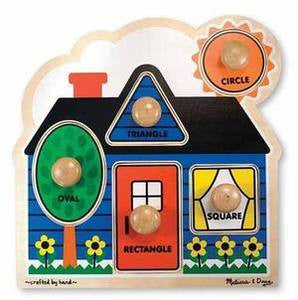 Melissa and Doug Wooden First Shapes  Jumbo Knob Puzzle - Ages 1+ Years