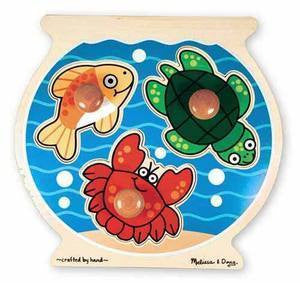 Melissa and Doug Wooden Fishbowl Jumbo Knob Puzzle - Ages 1+ Years