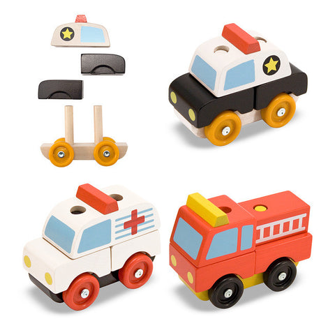 Wooden Stacking Emergency Vehicles Set - Melissa and Doug