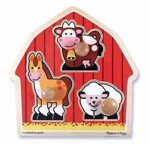 Melissa and Doug Wooden Barnyard Animals   Jumbo Knob Puzzle - Ages 1+ Years