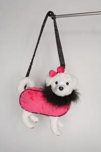 Mischa Pink Maltese Furry  Couture Purse - Douglas Cuddle Toys - 10""