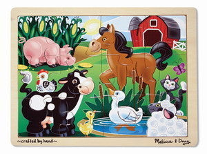Melissa and Doug On the Farm 12 Piece Wooden Jigsaw Puzzle -   KGW