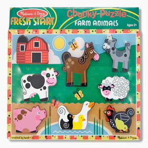 Farm Animals Chunky Wooden Puzzle - Melissa and Doug