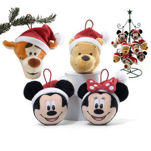 GUND Plush Disney Set of 2 Minnie and Mickey Mouse Christmas Ornaments 4""