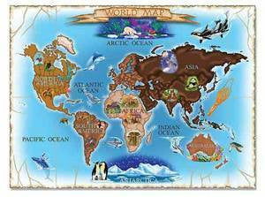 Map of the World 500-Piece Cardboard Jigsaw Puzzle by Melissa and Doug #3171