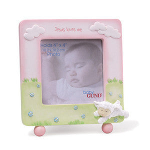 GUND Jesus Loves Me Picture Frame Pink