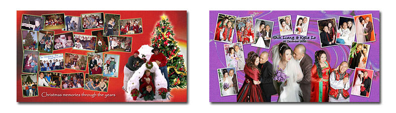 Wide Photo Collage Puzzle Layouts Set 3