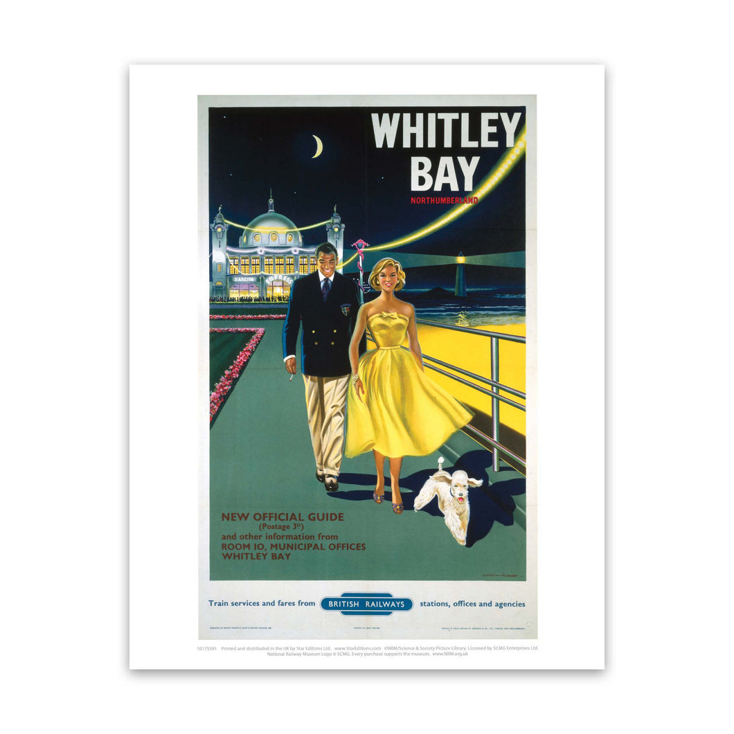 Whitley Bay Northumberland, BR poster, 1958. Art Print