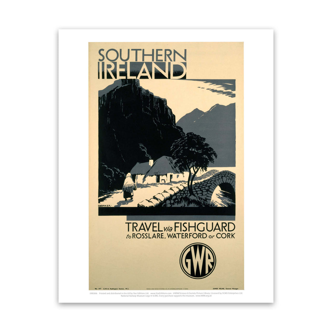 Southern Ireland via Fishguard to Rosslare, Waterford or Cork Art Print