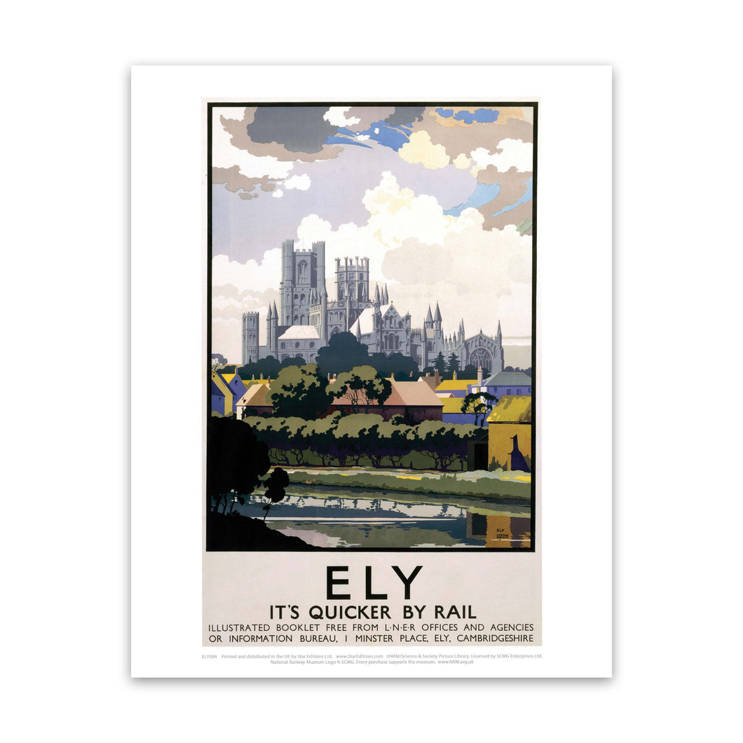 Ely View of Cathedral across River Art Print
