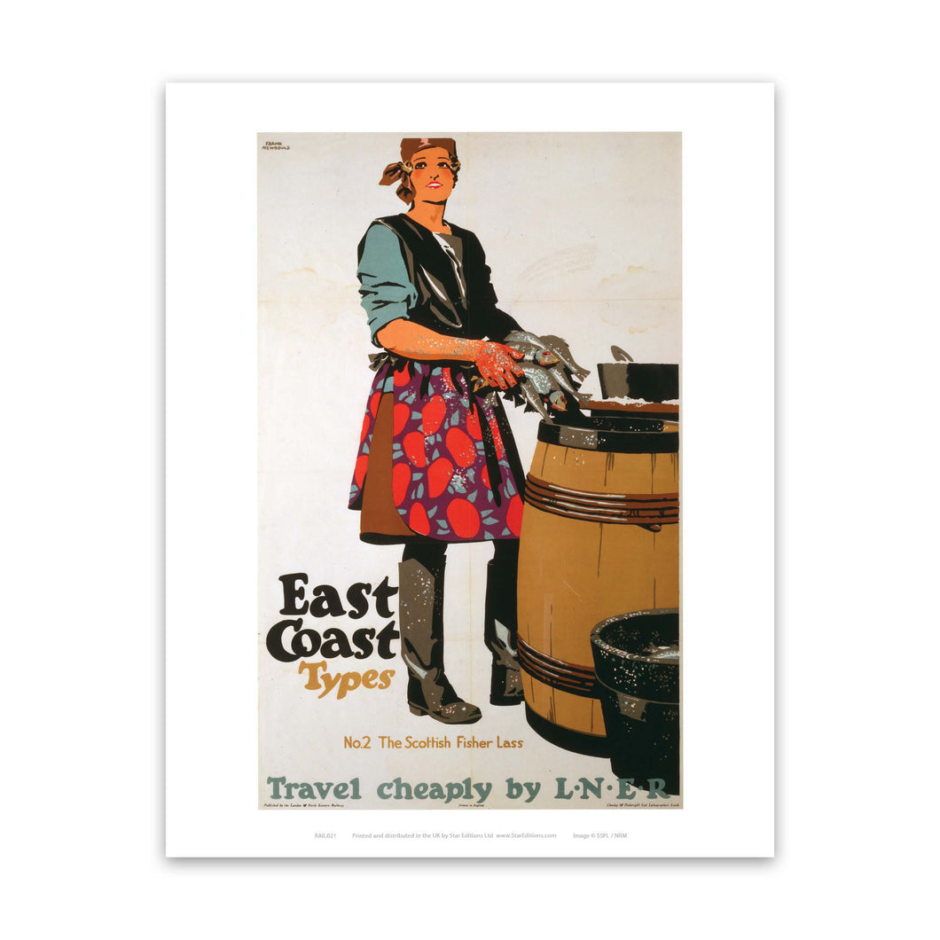East Coast Types Girl with Fish and Barrel Art Print