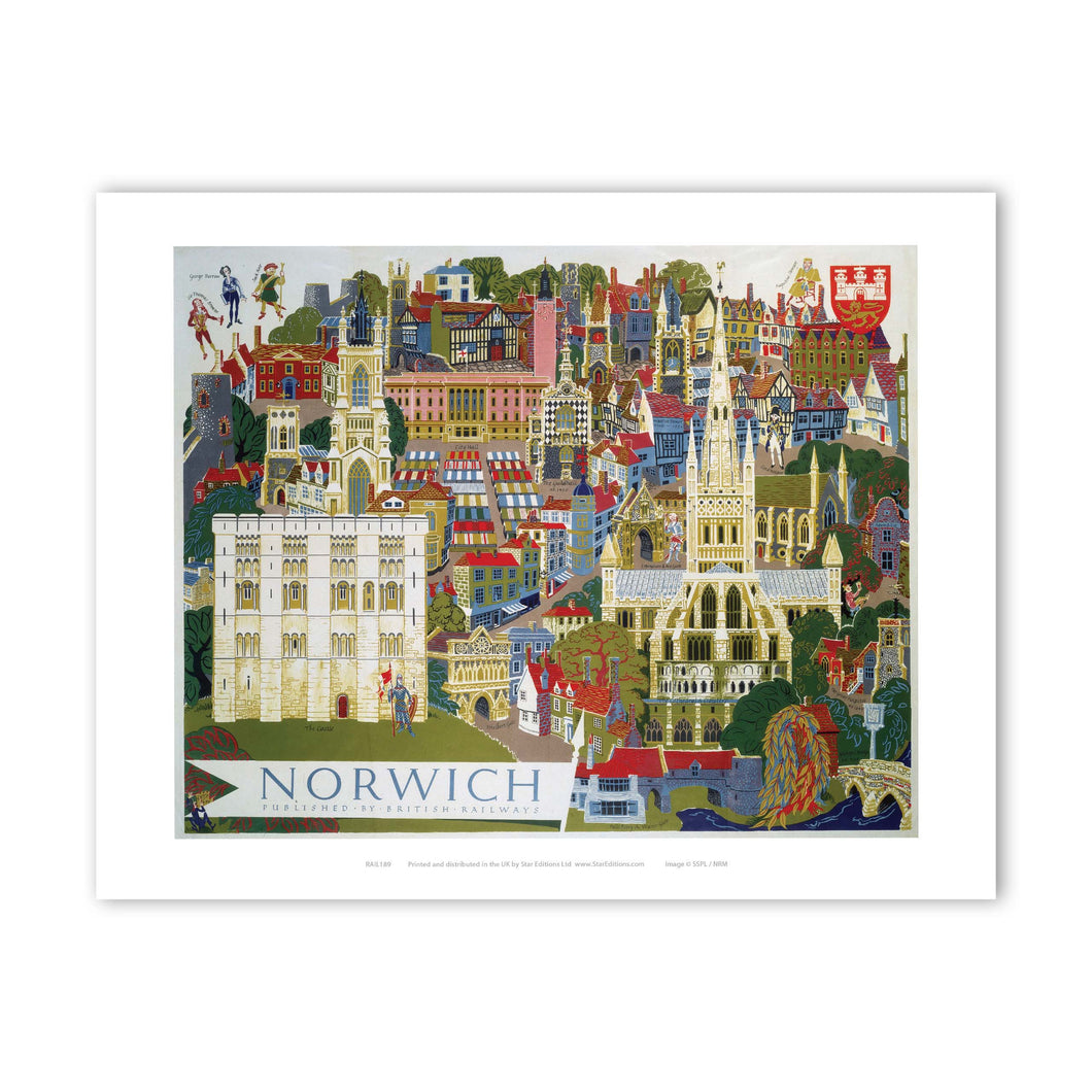 Norwich Illustration from Air Art Print