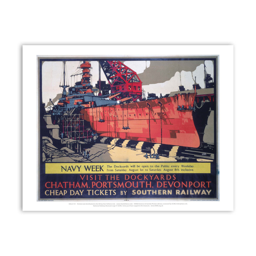 Dockyards Chatham, Portsmouth, Devonport Art Print