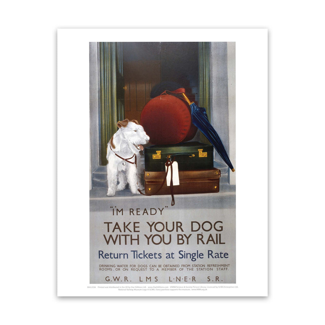 Take your Dog with you by Rail Art Print