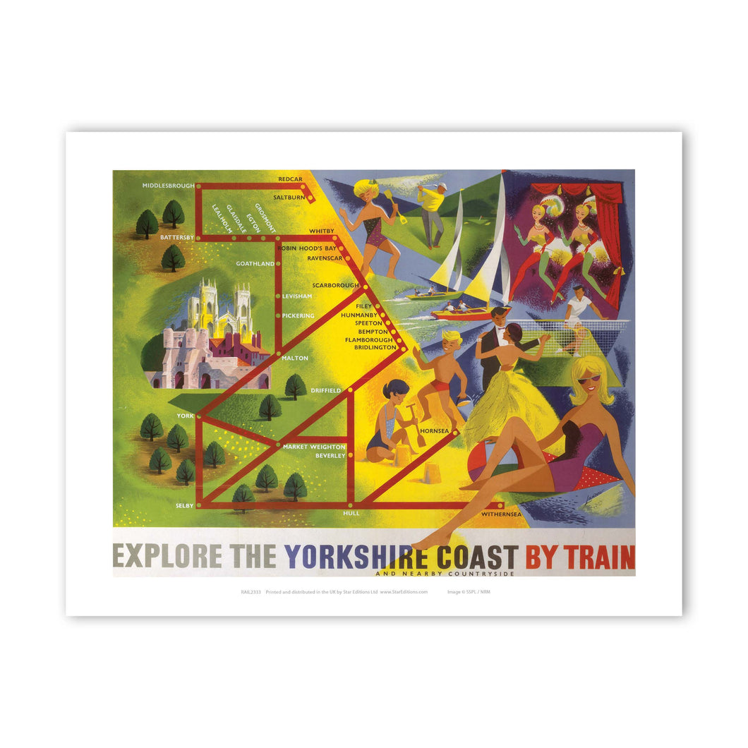 Explore the Yorkshire Coast by train Art Print