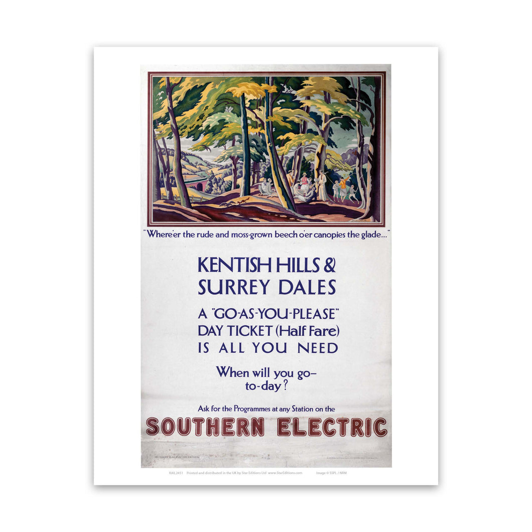 Kentish Hills and Surrey Dales Southern Electric Art Print