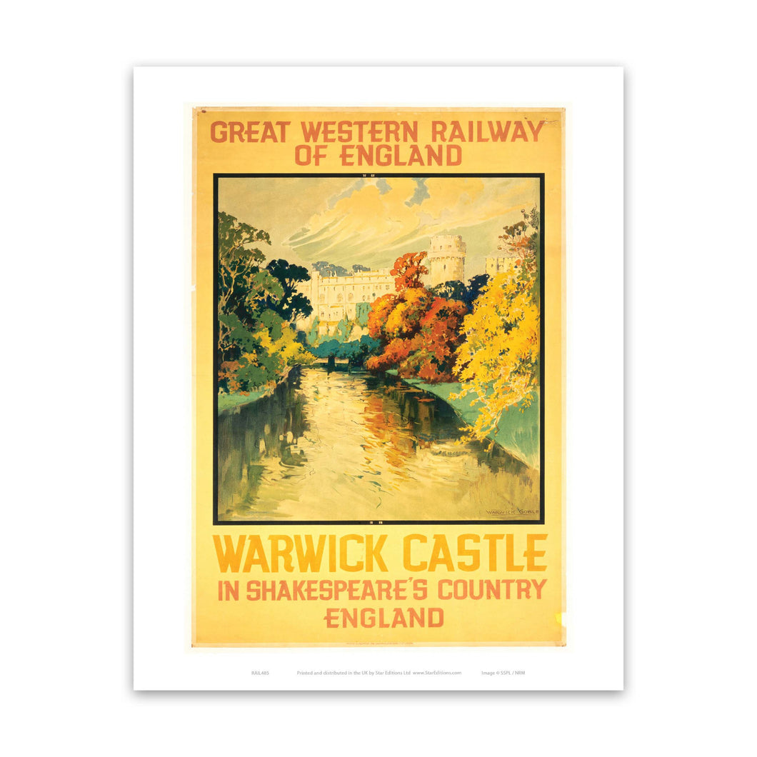 Warwick Castle - Shakespeare's country yellow Great western railway poster Art Print