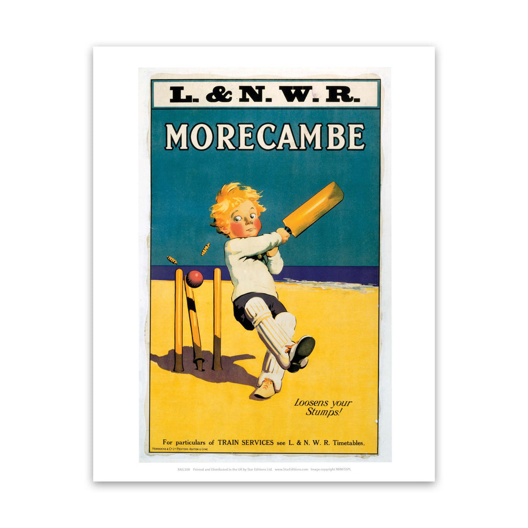 Morecambe - Loosens your stumps - Cricket on the beach Art Print
