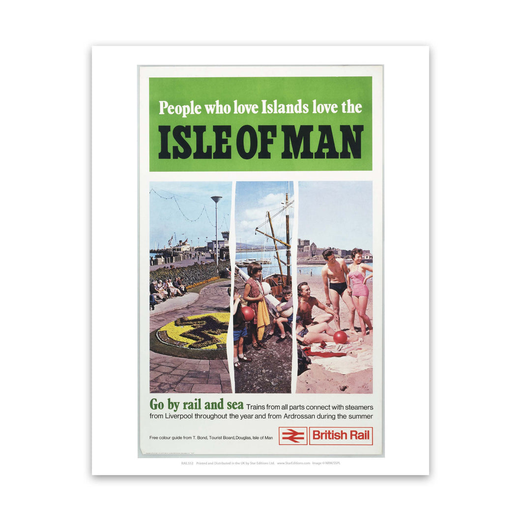 Isle Of man - go by rail and see 3 image poster Art Print