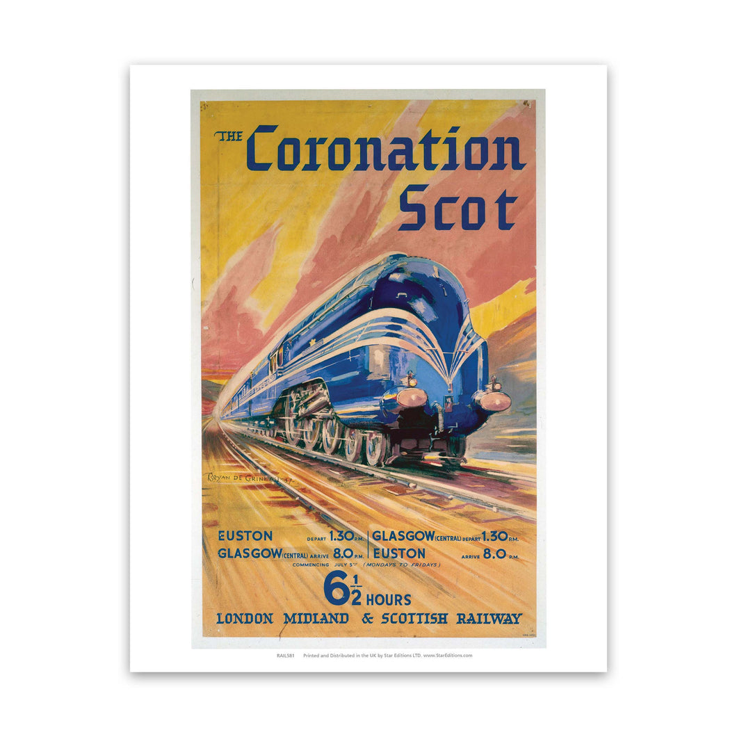 The Coronation Scott - 6 1/2 hour London midland and scottish railway Art Print
