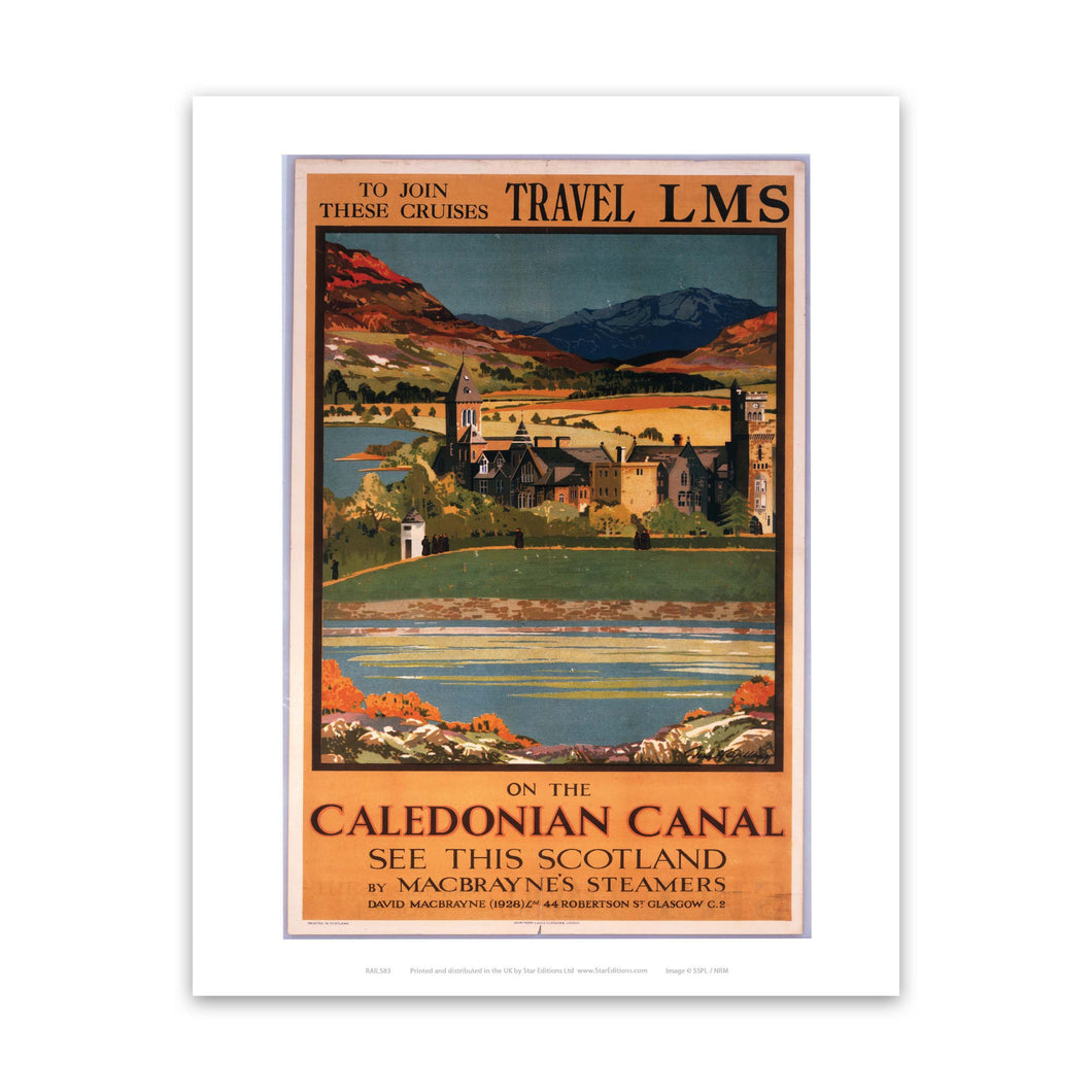 On the Caledonian canal - LMS Travel cruises Art Print