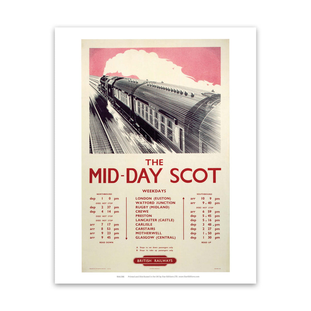 The Mid-Day Scot - British Railways Timetable Art Print