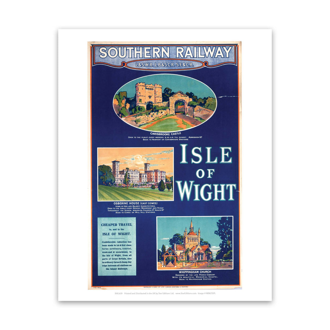 Carisbrooke castle, Osbourne House and Whippingham Castle - Sights of Isle Of Wight Art Print