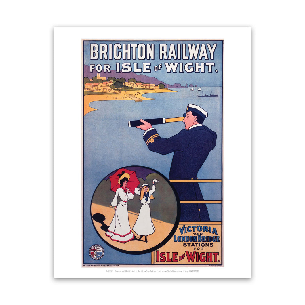 Off the coast of the Isle of Wight - Brighton Railway Art Print