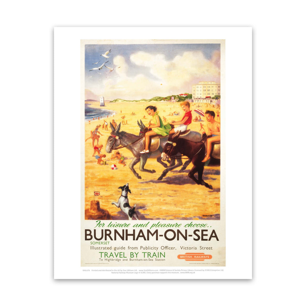 Burnham-on-sea donkies - For Leisure and Pleasure Art Print