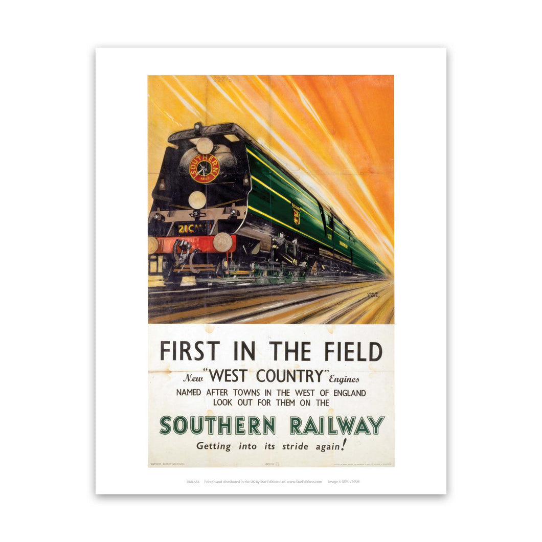First in the field west country engines - Southern Railway Art Print