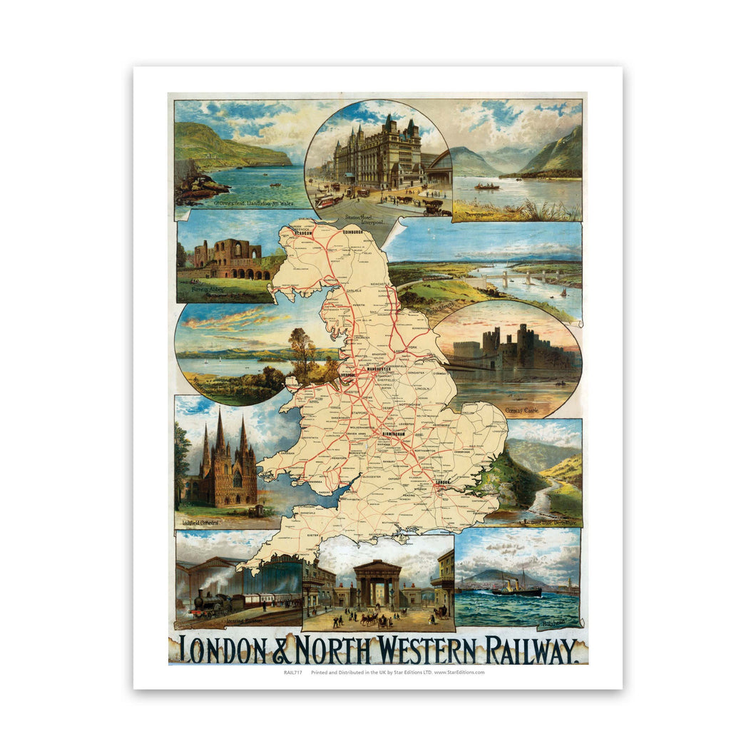 UK Map London and north Western Railway Art Print