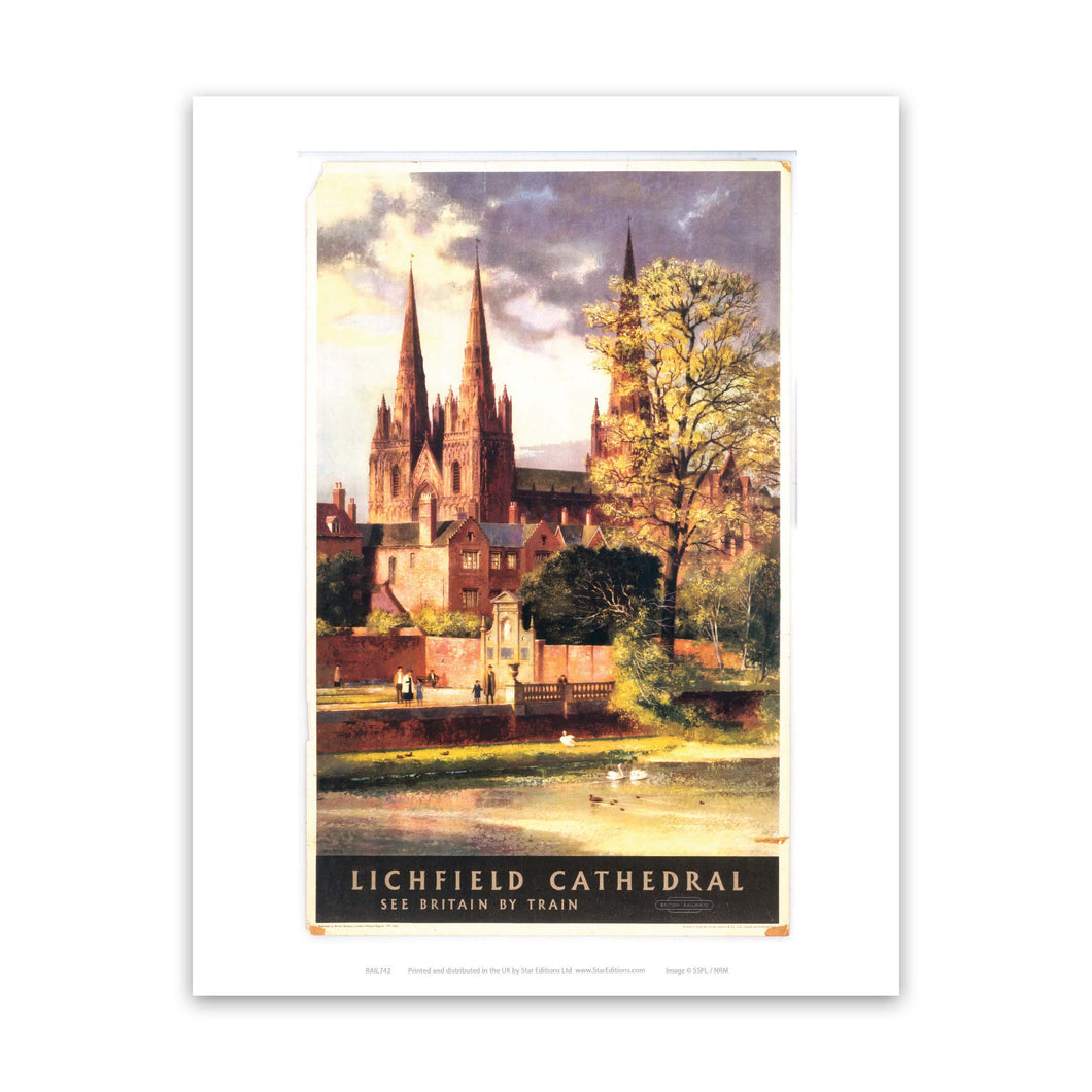 Lichfield Cathedral - See britain by train Art Print