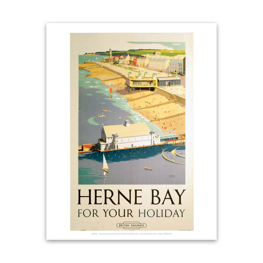 Herne Bay for your holiday - Herne bay pier and beach Art Print