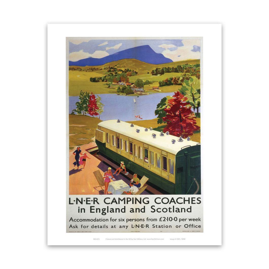 Camping Coaches in England and Scotland - Lakeside Train carriage Art Print