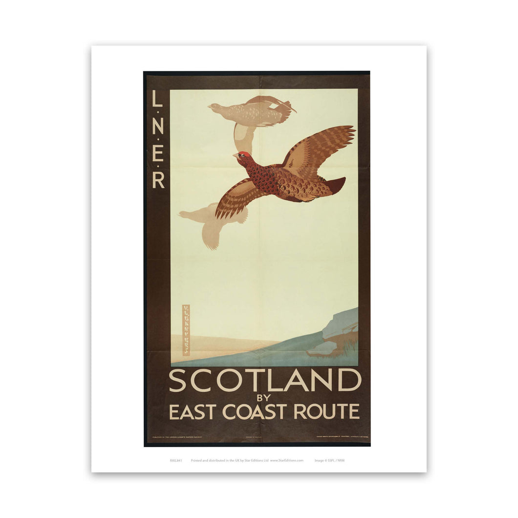 LNER Scotland by East coast route - Grouse Art Print