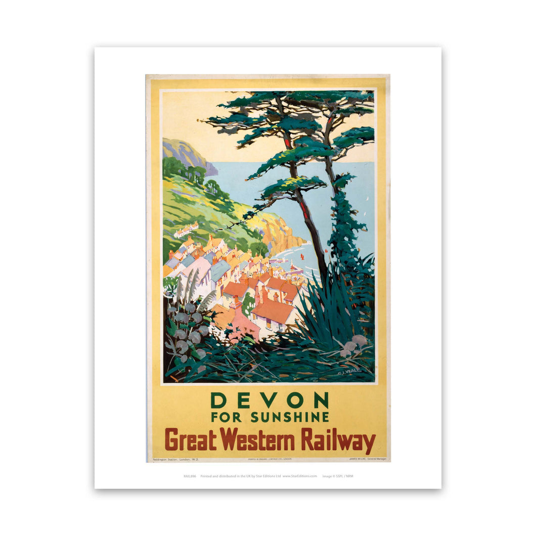 Devon for sunshine - Great Western Railway Art Print