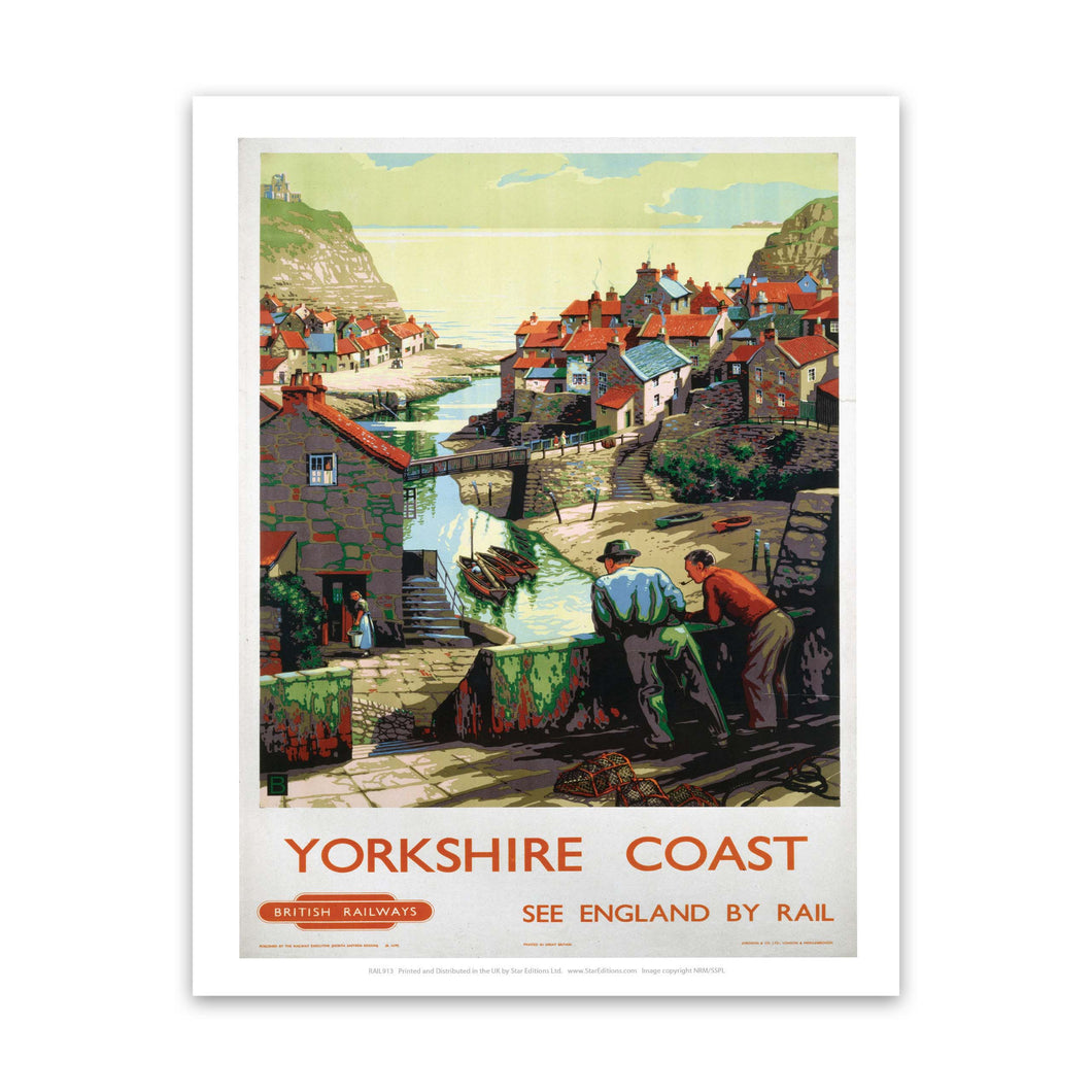 Yorkshire Coast - 2 Men on the bridge Art Print
