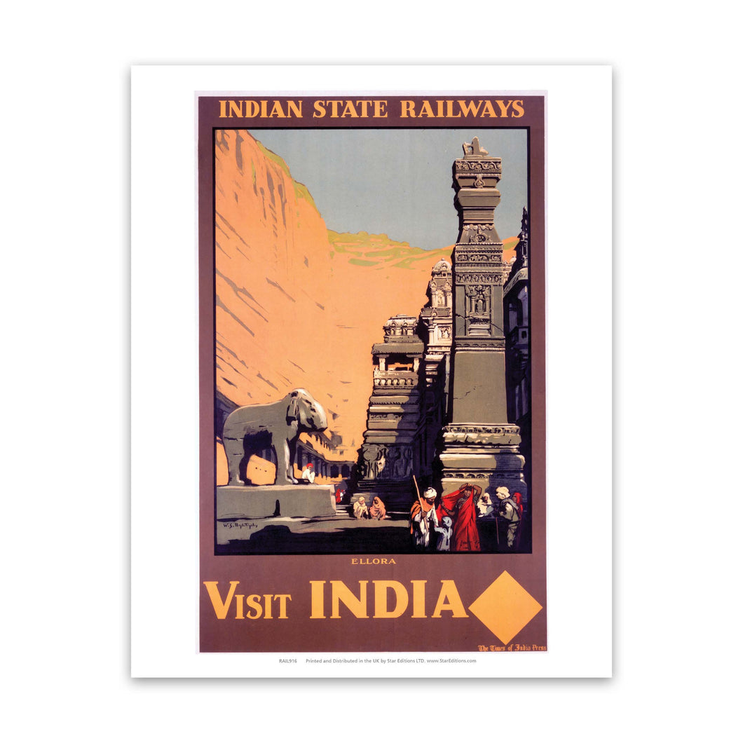 Ellora - Visit Indian Indian State Railways Art Print