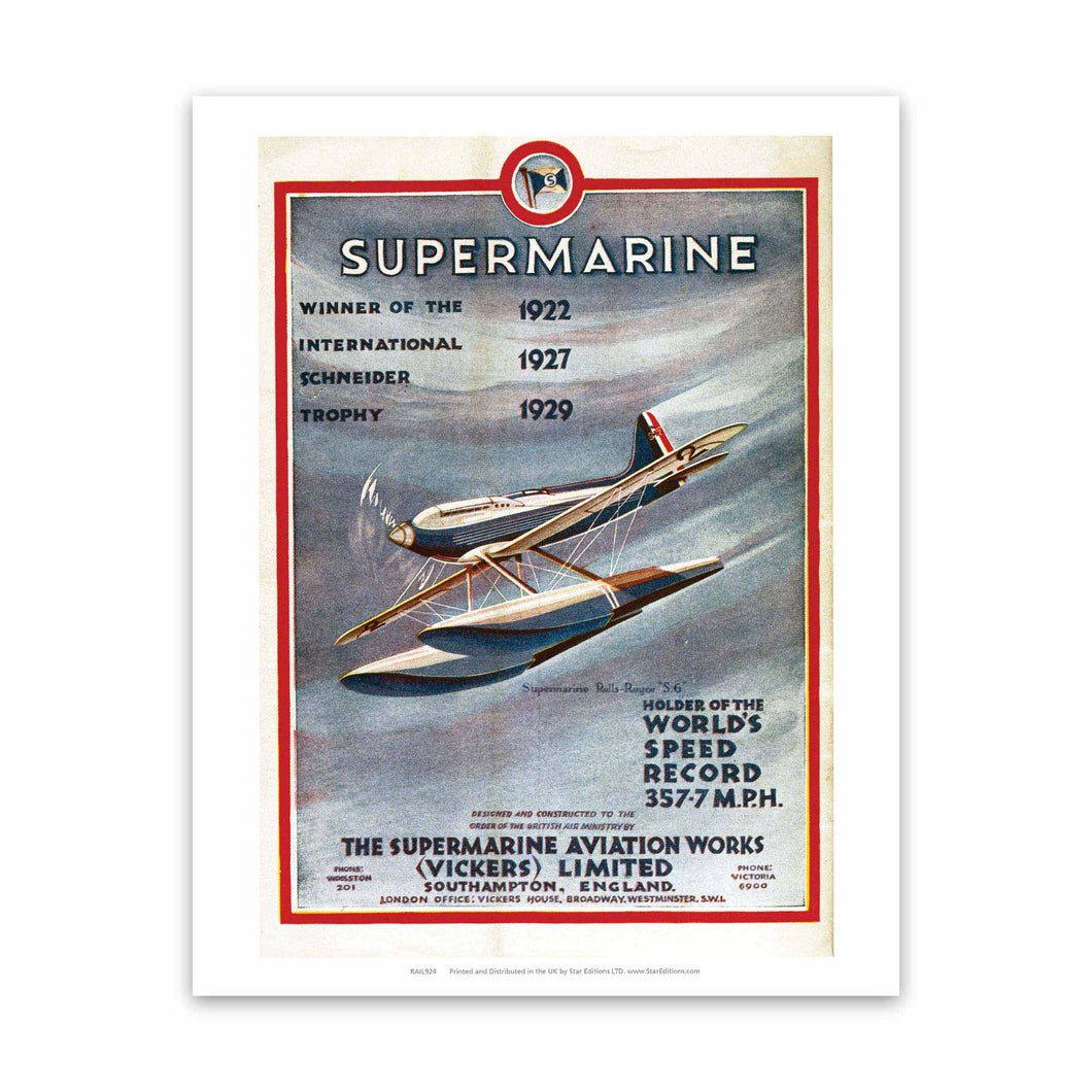 Supermarine - Winner of the International Schneider Trophy Art Print