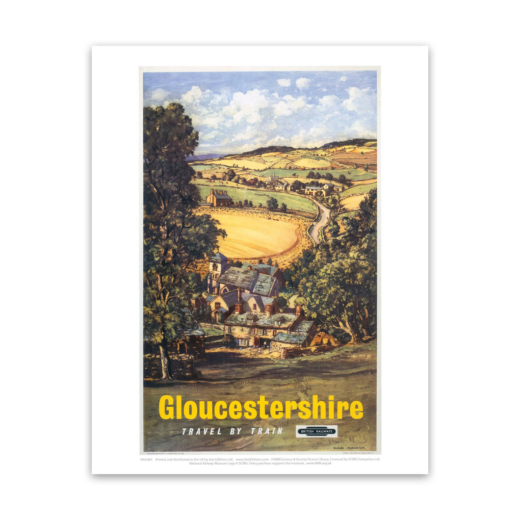 Gloucestershire hillside view Art Print